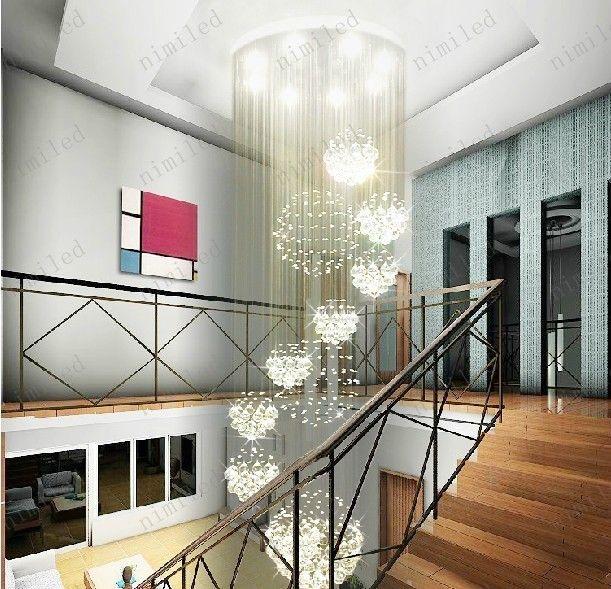 nimi115 Dia 80cm / 100cm / 120cm LED Crystal Light Spiral Staircase Lampes suspendues Lustre Pendentif Dorplight Villa Duplex Salon éclairage