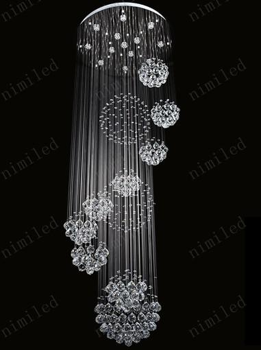 nimi115 Dia 80xH220cm LED Crystal Light Modern Spiral Staircase Lamps Hanging Chandelier Pendant Dorplight Duplex Villa Living Room Lighting