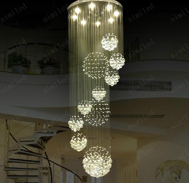 Nimi115 Dia 80cm/100cm/120cm Led Crystal Light Spiral Staircase Lamps Hanging  Chandelier Pendant Dorplight Duplex Villa Living Room Lighting Rustic ... Design