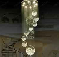 duplex-treppenlampe großhandel-Nimi115 Dia 80 cm / 100 cm / 120 cm LED Kristall Licht Wendeltreppe Lampen Hängen Kronleuchter Anhänger Dorplight Duplex Villa Wohnzimmer Beleuchtung