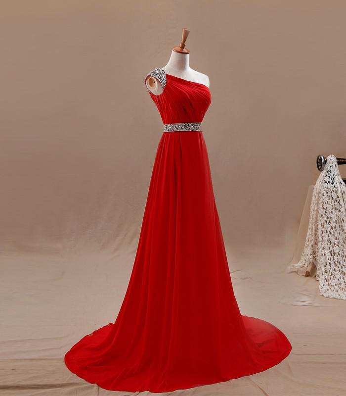 Best Selling A Line Sweep Train Red Chiffon Un hombro Vestidos de noche Cuentas Granos de lentejuelas Vestidos de fiesta largos Vestidos de fiesta largos Muestra real