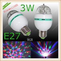 Wholesale E27 Rgb Spot - E27 RGB 3W LED Rotating Spot Light Bulb Lamp For Chrismas Party 85-265V AC Small body 60mm*110m