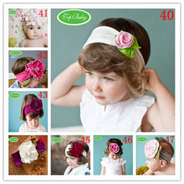 Wholesale Toddler Elastic Hair Bands - 20PCS Baby Girls Elastic Headband With Flower Hair Band Children Infant Cotton Headwears Toddler Girls Photo Props