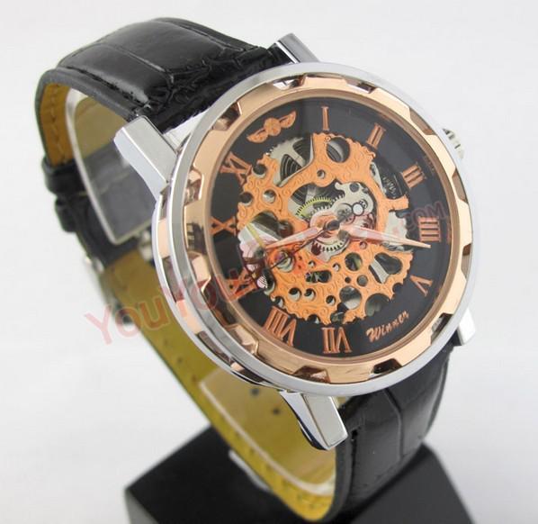 Neuer berühmter Marken-Sieger-Luxus-Mode-beiläufiger Edelstahl-Mann-mechanische Uhr-Skeleton Uhr für Mann-Kleid-Armbanduhr