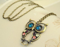 Wholesale Silver Owl Necklace Sweater Chain - Hot Sale Owl Retro Pendant Necklace Sweater Chain Women Fashion Wholesale Jewelry Lots Free Shipping LR206