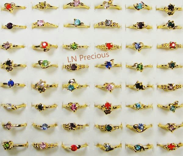 best selling Fashion Mix Lots Classic Fashion Rhinestone Gold Plated Rings For Women and Girls Cheap Whole Jewelry lots LR119 Free Shipping
