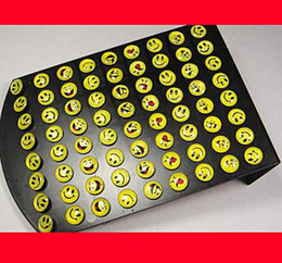 Wholesale Crystal Stud Earrings Men - 72Pcs Hot Sale Smile Emoticon Resin Pattern Stainless Steel Stud Earrings For Women Men Jewelry Bulk Sets Free Shipping RL083