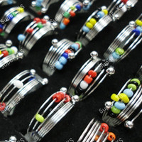 Wholesale Iron Beads Jewelry - Hot Sale Fashion Colorful Beads iron Spring Rings For Women Boys Girls Whole Jewelry Bulk Lots LR189