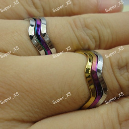 Wholesale Silver Wedding Ring Waves - Wholesale Stainless Steel Fashion Unisex 3 in 1 Wave Rings For Women Jewelry Bulk Lots LR356 Free Shipping