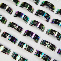 Wholesale Wholesale Jewelry China Bulks - Top New Fashion Rainbow Stainless Steel Rings For Women Men Whole Jewelry Bulk Lots LR118 Free Shipping