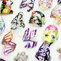 Wholesale Colored Glaze - Fashion Colored Enamel Glaze Zinc Alloy Rings For Women Wholesale Jewelry Bulk Lots Free Shipping LR109