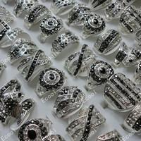 anel de gravata de prata venda por atacado-Venda quente Por Atacado de Strass Banhado A Prata Anéis Para As Mulheres Moda Jóias A Granel Lotes Frete grátis LR173