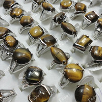 anillo de ojo de tigre al por mayor-Venta caliente de moda Venta al por mayor de joyería a granel lote anillo Tiger-eye Pretty Silver Plated mujeres anillos LR276 envío gratis
