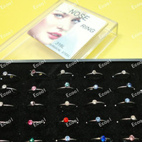 Wholesale body jewelry online - Set Jewelry Nice Body Pierce Crystal Nose Ring Bulk Bullring Display Box LR312