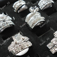 Wholesale Couple Ring Wholesale - 1Set 2Pcs Rhinestones Zircon 2 in 1 Silver Plated Rings For Women Whole Jewelry Bulk Ring Lots LR154 Free Shipping