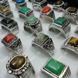 Ring men silveR Red stone online shopping - Natural Stone Silver Plated Rings For Men Fashion Jewelry Bulk LR248