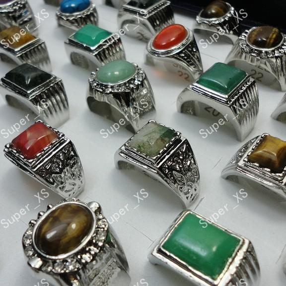 top popular Wholesale Natural Stone Silver Plated Rings For Men Fashion Jewelry Bulk Lots LR248 Free Shipping 2019