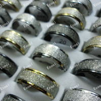 batas de mujer al por mayor-Nunca se desvanecen los matorrales spin Frosted anillos de boda de acero inoxidable para mujeres u hombres al por mayor anillo de la joyería Lotes LR308