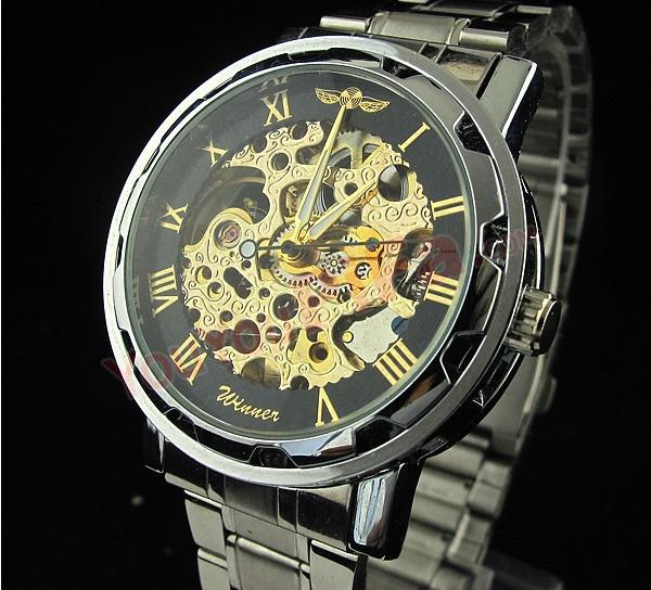 Fashion Winner Retro Vintage Stainless Steel Skeleton Mechanical Watch For Man Gold automatic Mechanical Wrist Watches Clock