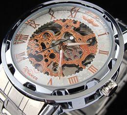 $enCountryForm.capitalKeyWord NZ - Fashion Winner Retro Vintage Stainless Steel Skeleton Mechanical Watch For Man Gold automatic Mechanical Wrist Watches Clock