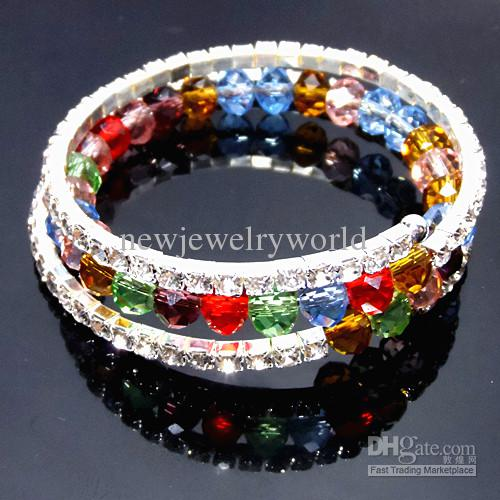 Silver Tone Luxury Multi Color Crystal Rhinestone Wedding Dress 3 Row Flexible Bracelet/ Bridal Stretchy Bangle