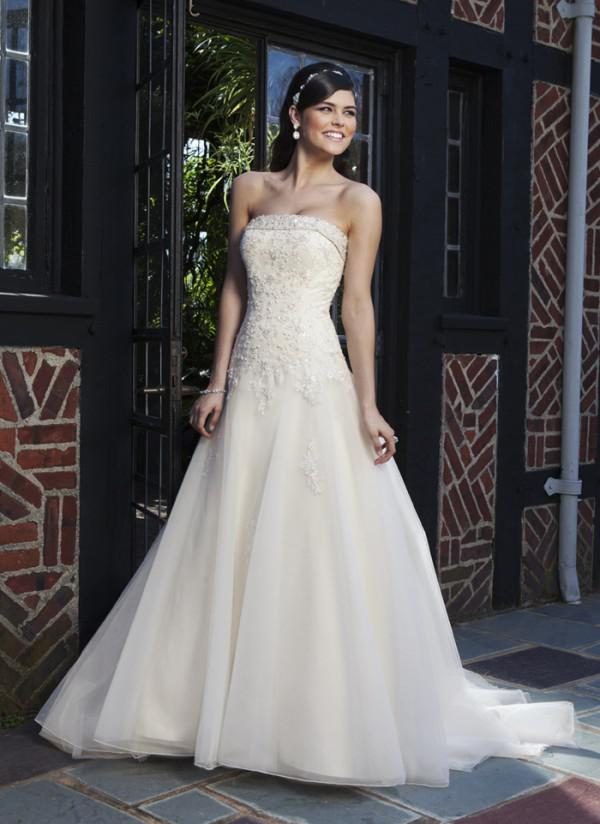2014 Simple Noble Strapless Empire A-line With Appliques White Ivory Wedding Bridal Dresses Wedding Bridal Gowns Free Shipping