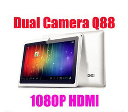 Wholesale Tablet Action Hdmi - Wholesale - 7 inch Dual Camera Q88 Q8 HDMI Tablet PC Android 4.0 Capacitive Screen Actions ATM7013 512MB 4GB WIFI Android Play Store