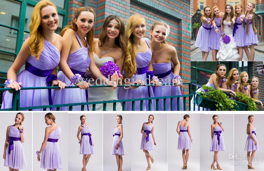 Cheap Western Wedding Bridesmaids Short Purple Bridesmaid Dress ...