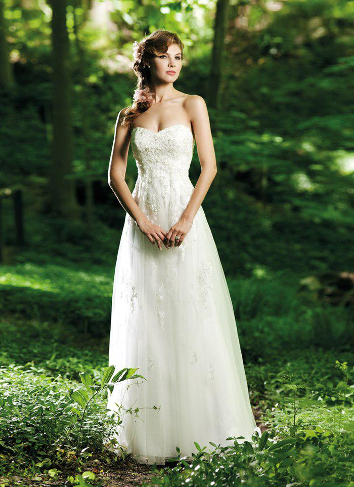 2014 Simple Strapless Empire A-line Tulle Sweep Train With Appliques Wedding Bridal Dresses Wedding Bridal Gowns Free Shipping