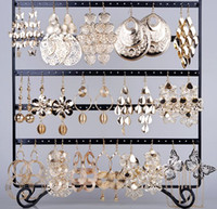 Wholesale Wholesale Chandelier Earring - 24 pairs Earring Jewelry Lots Gold Hook Mixed Styles Flower Leaf Heart Women's Dangle Earrings Eardrop Free Ship [E149G*24]