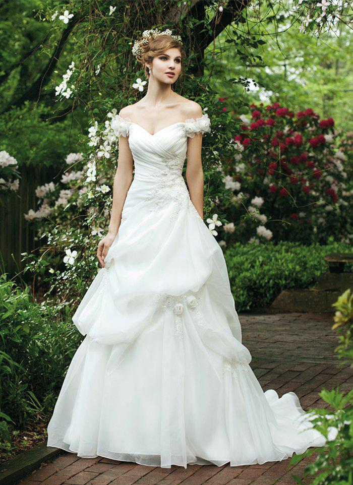 2014 Fairy Tale Style Cap Sleeve Pick-up With Handmade Flower Wedding Bridal Dresses With Appliques Wedding Bridal Gowns Free Shipping