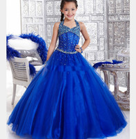 Wholesale Halter Princess Pageant Dresses - Royal Blue 2013 Stunning Beads Halter Kids Pageant Dresses Girl's Princess Gowns Birthday Party Dress Infant Pageant Dress dhyz 03
