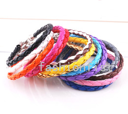 Wholesale Braided Leather Bracelet 925 - Free Shipping 120pcs 925 Silver Jewelry European Braided Leather Beads Bracelets Fit Gift Mix Colors