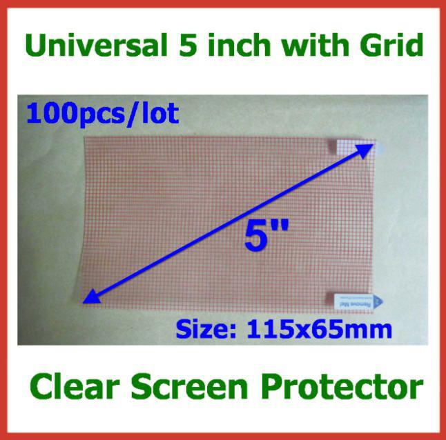 100pcs Universal 5 inch 3-layer CLEAR Screen Protector with Grid Size 115x65mm for Mobile Phone GPS MP4 Camera Protector Guard Film