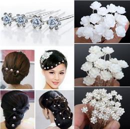 Wholesale Hairpins Pick - 40PCS Wedding Bridal Pearl Hair Pins Flower Crystal Hair Clips Bridesmaid Hair Accessories 5 Styles U Pick [JH03001-5]