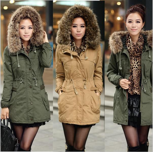 Winter Lady Detachable Big Fur Hood Coat,Army Green Faux Wool ...