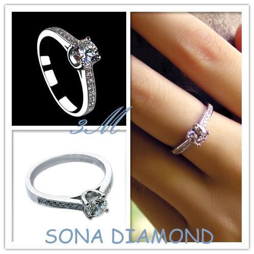 Luxury SONA simulate diamond ring,14K white gold plated mount ring,wedding ring for women,engagement ring,anniversary gift