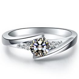 Configuraciones de oro 14k online-El brillo de la estrella de 0.5 ct simula anillos de diamantes anillos de plata de ley chapados en oro blanco de 14K montajes de anillo de montaje en anillo infinito