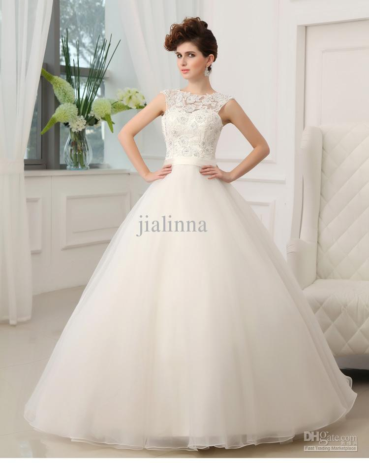 2014 Stunning White Bateau Neckline With Applique Ball Gown Wedding Bridal Dresses Wedding Bridal Gowns Free Shipping