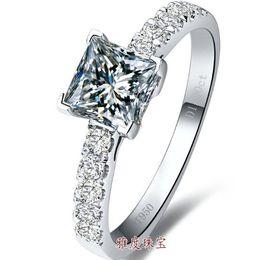Роскошь 1 ct Принцесса вырезать,стерлингового серебра кольца белого золота покрытием обручальное кольцо для леди,имитировать бриллиантовые кольца для женщин cheap engagement gold ladies rings от Поставщики золотые женские кольца для помолвки