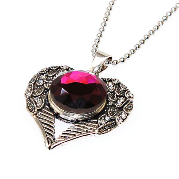 Colgante de la diapositiva del corazón del cristal de plata antigua con collar de cadena de bola de acero inoxidable para Diy Snap Charm Necklace Making