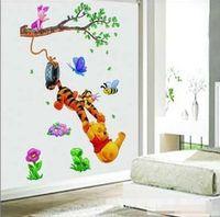 Wholesale Tigger Pooh Wall - 32*60CM High Quality 3pcs lot Guarantee100% A++++++ Hot-sales Brand New Winnie the Pooh and Tigger cartoon wall stickers Kids Room