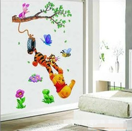 32*60CM High Quality 3pcs Lot Guarantee100% A++++++ Hot Sales Brand New  Winnie The Pooh And Tigger Cartoon Wall Stickers Kids Room Discount Winnie  Pooh Wall ... Part 94