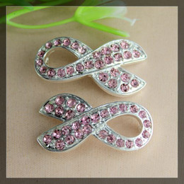 Wholesale Breast Cancer Connectors - Free shipping 30pcs Pink Crystal Rhinestones SideWays Ribbon Breast Cancer Connector Beads making Bracelet Jewelry findings