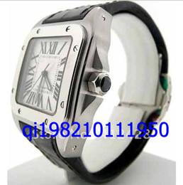 Ems relógio livre on-line-EMS grátis shippng luxo dos homens 100 aço inoxidável preto couro automático relógios de pulso exclusivo mens relógios