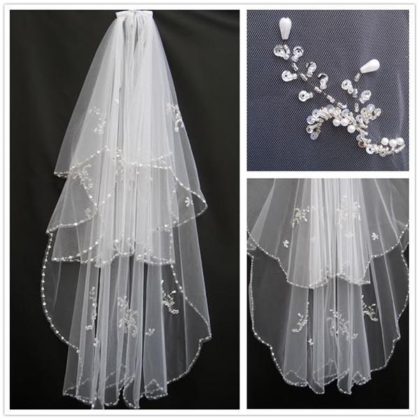 2 T Branco ou Marfim beading Acessório Do Casamento Veils Véu De Noiva Varejo Por Atacado Cristal Frisado Véu De Noiva Com Pente