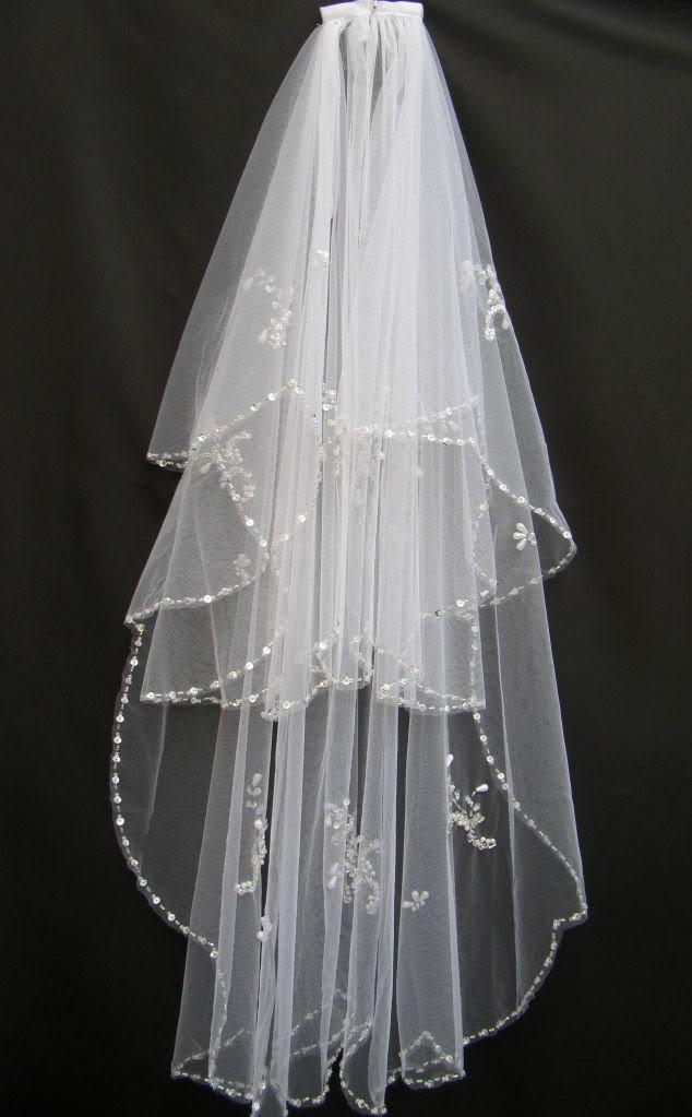 2T Weiß oder Elfenbein Sicken Hochzeit Zubehör Schleier Brautschleier Einzelhandel Großhandel Kristall Perlen Brautschleier Mit Kamm