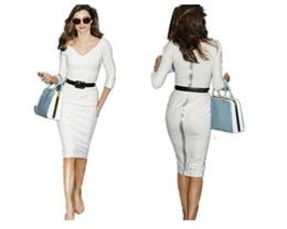 Wholesale Miranda Kerr - New Women's White Mini Skirt OL Dress Miranda Kerr Sheath Zipper Back Belt