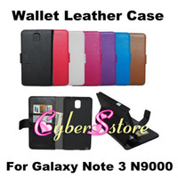 Wholesale New Arrival Litchi Wallet PU Flip Leather Case Cover With Credit Card Slots Pouch Stand For Samsung Galaxy Note N9000 III Note