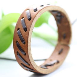 Wholesale Bright Charms - Free shipping Wholesale (7pcs lot) Handmade bright brown ethnic jewelry genuine leather wrap bracelets for unisex -LZ102